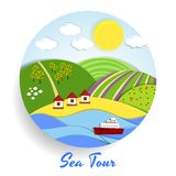 Sea Tour eco emblem. Circular Sea Tour eco emblem with green hills full of crops  a golden beach with huts and a blue sea with a cruise liner under a sunny Stock Photography