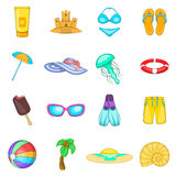 Sea tour icons set, cartoon style Royalty Free Stock Images