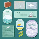 Sea tour. Label  with ship, gull, shell Royalty Free Stock Photos