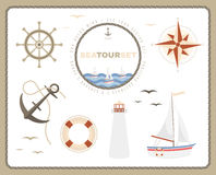 Sea tour set. Compass rose, sailboat, helm, anchor, lifebuoy and Royalty Free Stock Photo