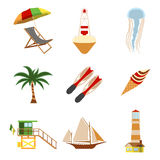 Sea and Tourism flat icon set. Cartoon Vector illustration Royalty Free Stock Images