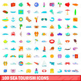 100 sea tourism icons set, cartoon style. 100 sea tourism icons set in cartoon style for any design vector illustration Royalty Free Stock Photos