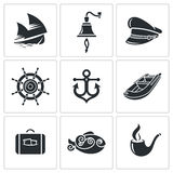 Sea Tourism Vector Icons Set Stock Photo