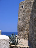 Sea tower. Stone building in Greece stock photo