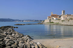 Sea and town of Antibes in France Stock Photography
