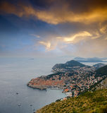 Sea town under sunset Royalty Free Stock Photography