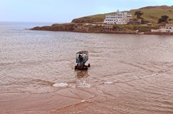 A Sea Tractor Crossing to Burgh Island in Devon, England royalty free stock image