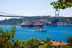 Sea traffic. Istanbul strait and sea traffic between Asia and Europe Royalty Free Stock Image