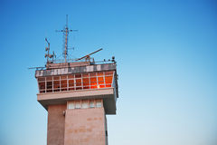 Sea traffic control tower and sky Royalty Free Stock Photography