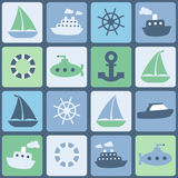 Sea transport. Seamless vector in retro colors Royalty Free Stock Photos