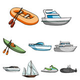 Sea transport, boats, ships. To transport people, thunderstorms. Ship and water transport icon in set collection on Stock Image