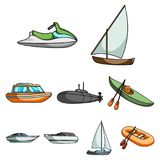 Sea transport, boats, ships. To transport people, thunderstorms. Ship and water transport icon in set collection on. Cartoon style vector symbol stock web Royalty Free Stock Images