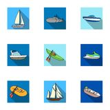 Sea transport, boats, ships. To transport people, thunderstorms. Ship and water transport icon in set collection on flat Stock Images
