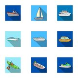 Sea transport, boats, ships. To transport people, thunderstorms. Ship and water transport icon in set collection on flat Royalty Free Stock Image