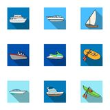 Sea transport, boats, ships. To transport people, thunderstorms. Ship and water transport icon in set collection on flat Royalty Free Stock Images