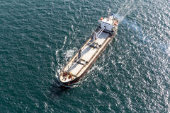 Maritime transport. Sea transport helicopter view of the cargo ship Stock Photo