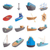 Sea transport icons set, cartoon style. Sea transport icons set. Cartoon illustration of 16 sea transport vector icons for web Royalty Free Stock Photo