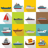 Sea transport icons set, flat style. Sea transport icons set. Flat illustration of 16 sea transport vector icons for web Stock Photo