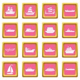 Sea transport icons pink Stock Photo
