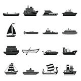 Sea transport icons set, simple style. Sea transport icons set. Simple illustration of 16 sea transport vector icons for web Royalty Free Stock Photo