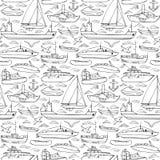 Sea transportation doodle seamless pattern Stock Photos