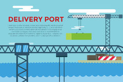 Sea transportation logistic port infographics. Vector transportation concept illustration. Sea shipping dock port terminal. Port, crane, box, sea, ship Royalty Free Stock Images