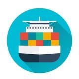 Sea transportation logistic. Sea Freight. Cargo ship. Vector flat illustration. Royalty Free Stock Photography