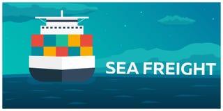 Sea transportation logistic. Sea Freight. Cargo ship. Vector flat illustration. Stock Image