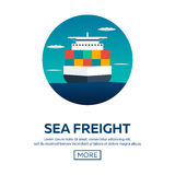 Sea transportation logistic. Sea Freight. Cargo ship. Vector flat illustration. Royalty Free Stock Images