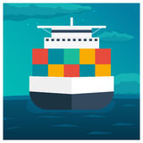Sea transportation logistic. Sea Freight. Cargo ship. Vector flat illustration. Stock Photo
