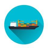 Sea transportation logistic. Sea Freight. Maritime shipping. Merchant Marine. Cargo ship. Vector flat illustration. Royalty Free Stock Photos
