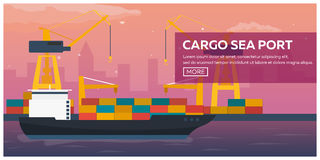 Sea transportation logistic. Sea Freight. Maritime shipping. Merchant Marine. Cargo ship. Vector flat illustration. Stock Photography