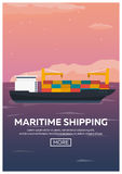 Sea transportation logistic. Sea Freight. Maritime shipping. Merchant Marine. Cargo ship. Vector flat illustration. Stock Photo