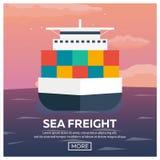 Sea transportation logistic. Sea Freight. Maritime shipping. Merchant Marine. Cargo ship. Vector flat illustration. Royalty Free Stock Photography