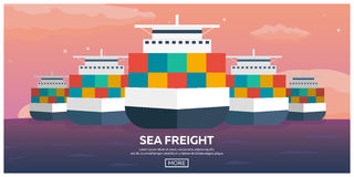 Sea transportation logistic. Sea Freight. Maritime shipping. Merchant Marine. Cargo ship. Vector flat illustration. Stock Photography