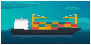 Sea transportation logistic. Sea Freight. Maritime shipping. Merchant Marine. Cargo ship. Vector flat illustration. Stock Image