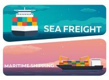 Sea transportation logistic. Sea Freight. Maritime shipping. Merchant Marine. Cargo ship. Vector flat illustration. Royalty Free Stock Image