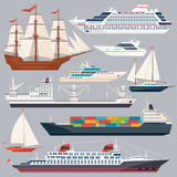 Sea transportation. Vector illustrations of ships and different boats. Flat style pictures. Collection of ships boat and cruise ocean travel stock illustration