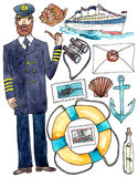 Sea travel cruise set - watercolor illustration on white Royalty Free Stock Images