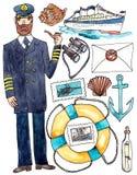 Sea travel cruise set - watercolor illustration on white. Set of captain, cruise ship, binoculars, lifebuoy and other equipment for sea cruise stock illustration