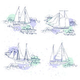 Sea travel elements set royalty free illustration