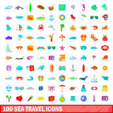 100 sea travel icons set, cartoon style. 100 sea travel icons set in cartoon style for any design illustration Stock Photography