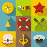 Sea travel icons set, flat style. Sea travel icons set. Flat set of 9 sea travel vector icons for web with long shadow Stock Images