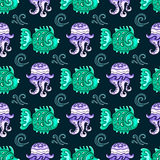 Sea travel seamless background  series. Sea travel seamless background with underwater diving animals. Decorative jellyfish, tropical reef fish, ocean bubbles Stock Photos