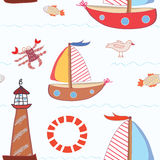 Sea travel seamless pattern Royalty Free Stock Image