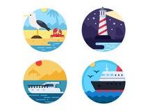 Sea travel set icons. Sea travel set. Swim on yacht or cruise ship. Vector illustration. Pixel perfect icons size - 128 px Royalty Free Stock Photo