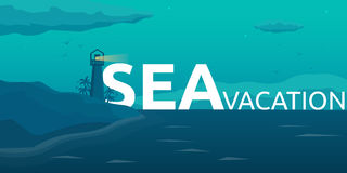 Sea travel. Summer time. Sea background with waves, lighthouse and dolphins. Vector flat illustration. Royalty Free Stock Image