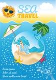 Sea travel template Royalty Free Stock Photos
