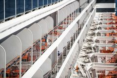 Sea Travel Transportation. Modern Cruise Ship Staterooms Balconies Closeup Stock Image