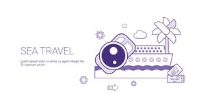 Sea Travel And Vacation Concept Summer Cruise Tourism Web Banner With Copy Space. Vector Illustration Royalty Free Stock Photos